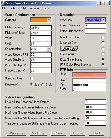 Camera Surveillance screenshot: camera , security, motion, jpeg, avi